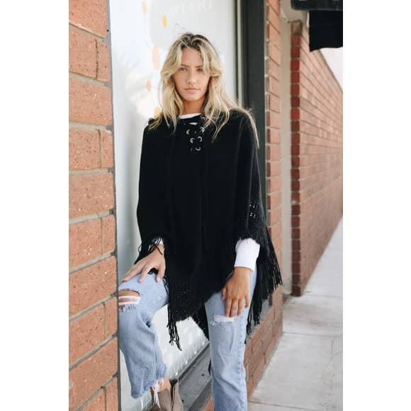 Lace Up Hooded Knit Poncho