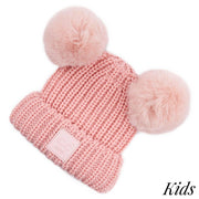 CC Double Faux Fur Pom Pom Beanie KIDS