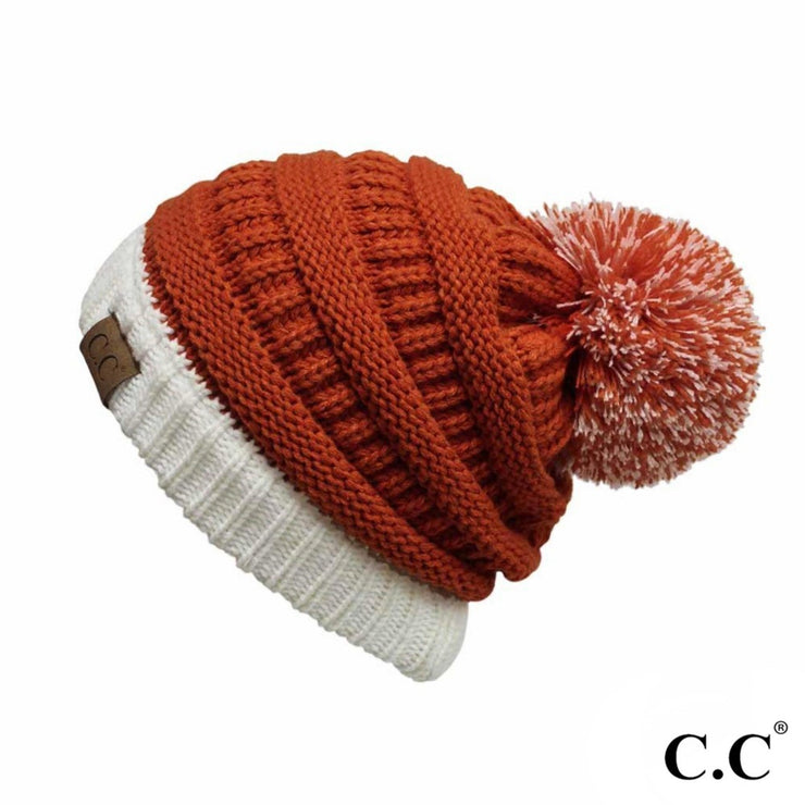 CC Two Toned Pom Beanie