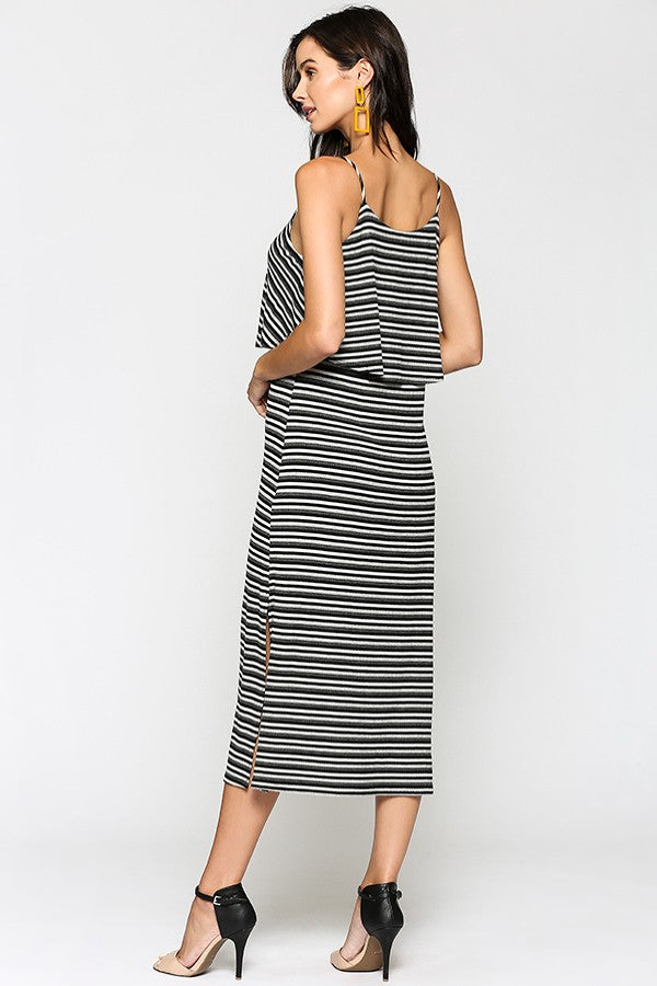 Midi Striped Ribbed Dress