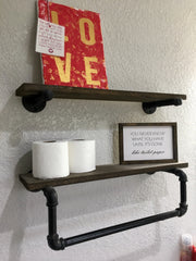 Pipe Shelf W/ Towel Hanger