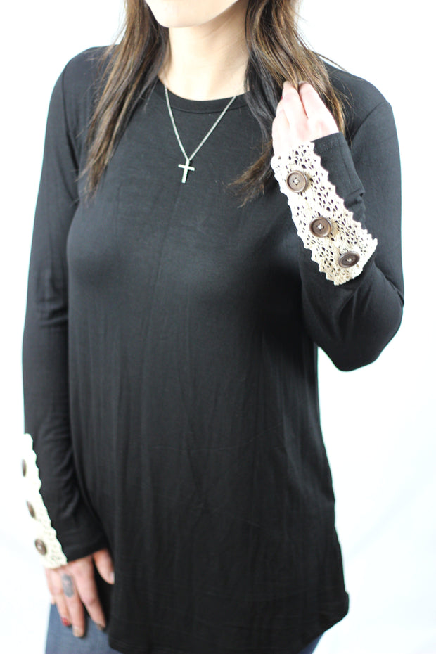 Buttons & Lace Long Sleeve - Black