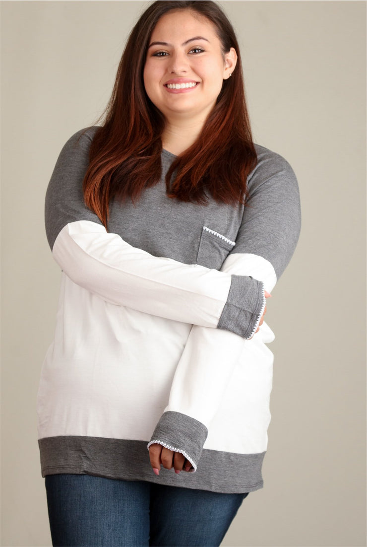 Charcoal & Ivory Colorblock Blouse