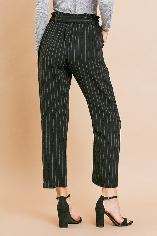 Black Pinstripe Highwaisted Pants