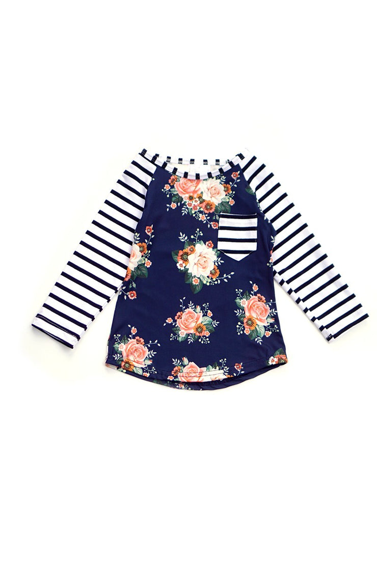 Floral & Stripe Raglan Top