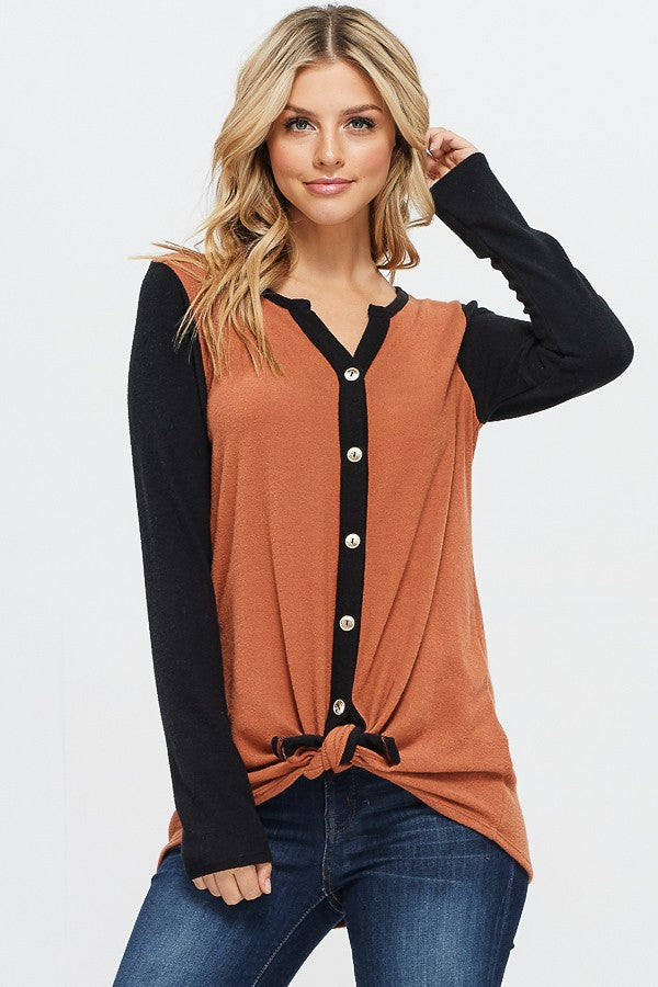Knit & Gold Button Top