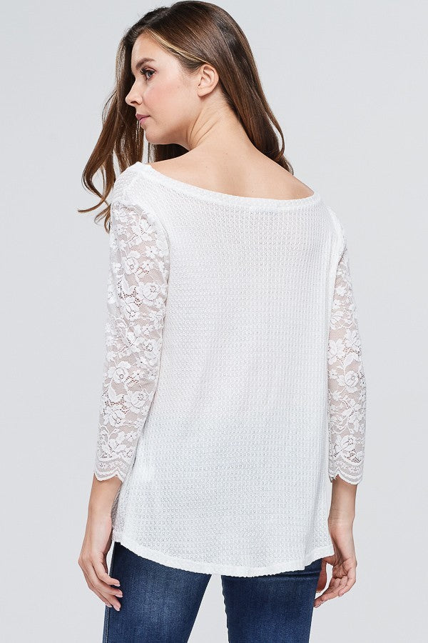 Waffle Knit and Lace Top