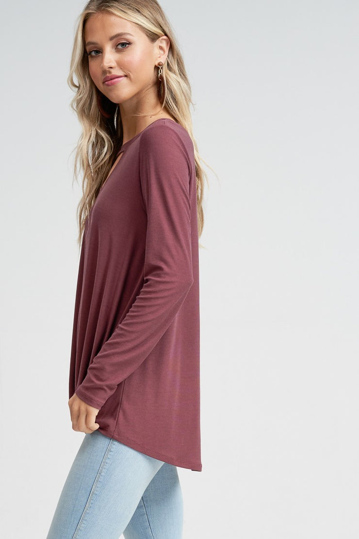 Key Hole Long Sleeve Top