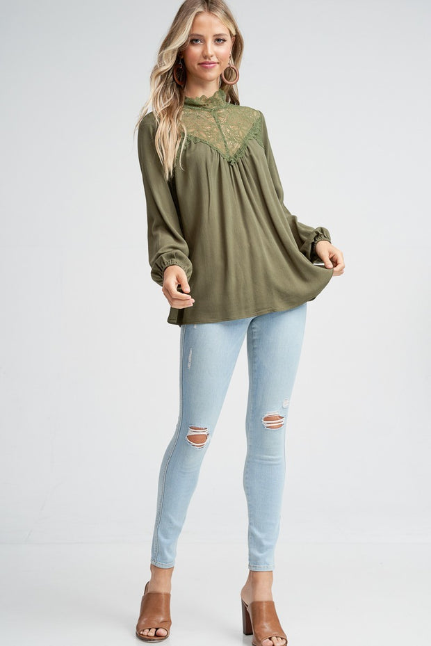 Lace Mock Neck Long Sleeve