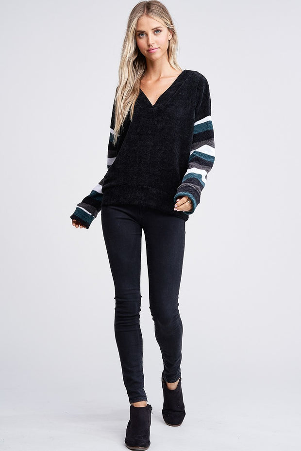 V-Neck Chenille Sweater