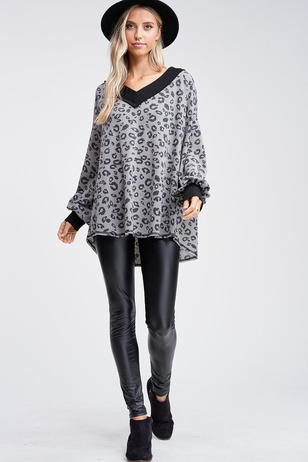 Cheetah Print V-Neck