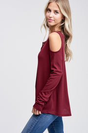 Solid V-Neck Cold Shoulder