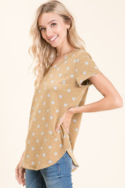 Short Sleeve Dijon Polka Dot Top