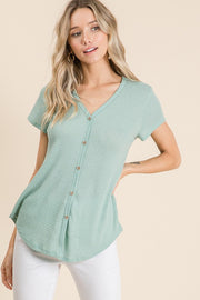 Waffle Knit Button Blouse - More Colors