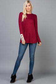 Buttons & Lace Long Sleeve - Burgundy