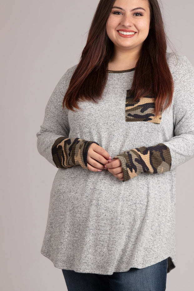 Gray Long Sleeve w/ Camo Sleeve
