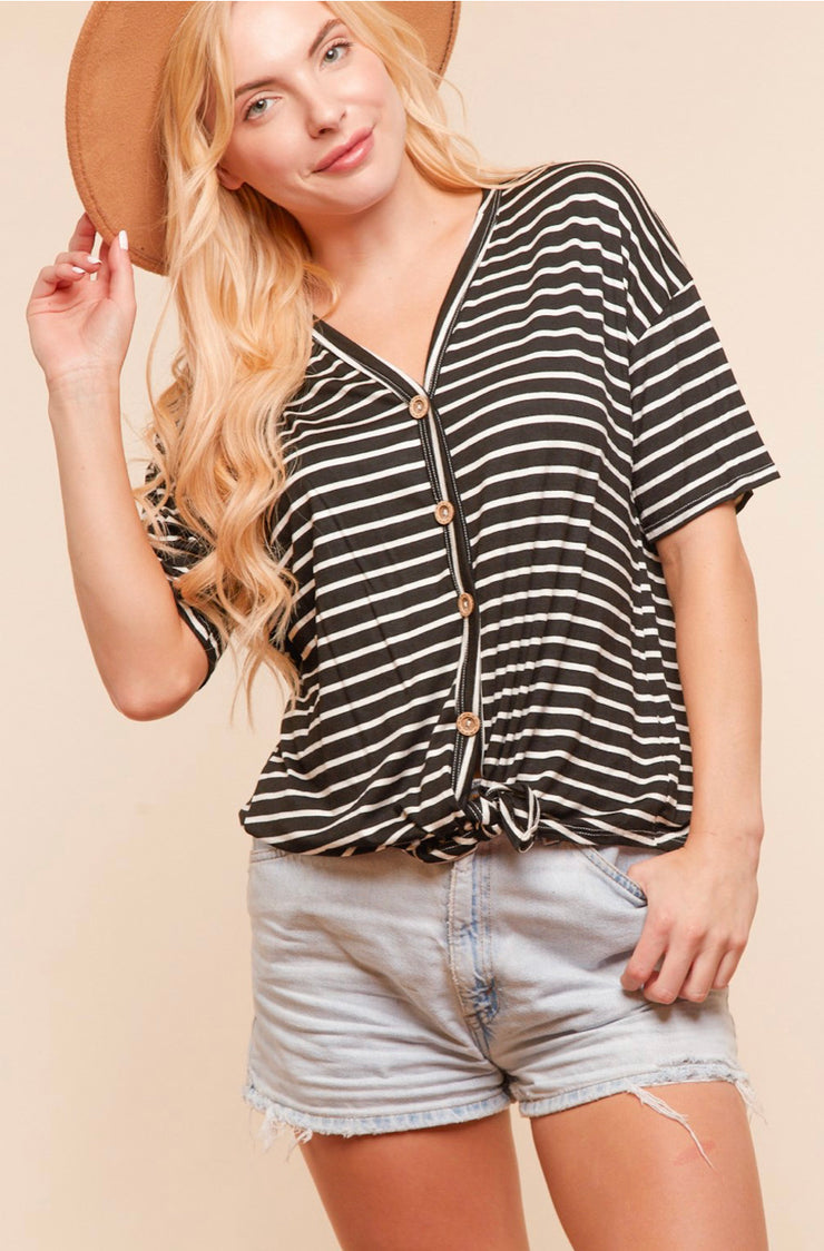 Striped Button Tie Blouse