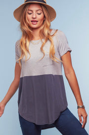 Gray & Striped Colorblock Top