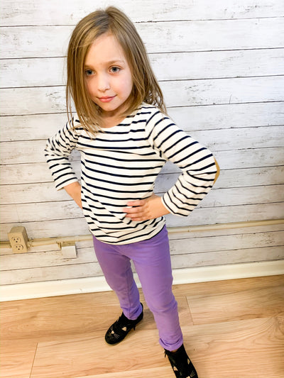 Kids Stripe Top W/ Elbow Patch