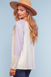 Lavender & Ivory Striped Flowy Top
