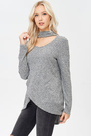 Split Front Stripe Sweater