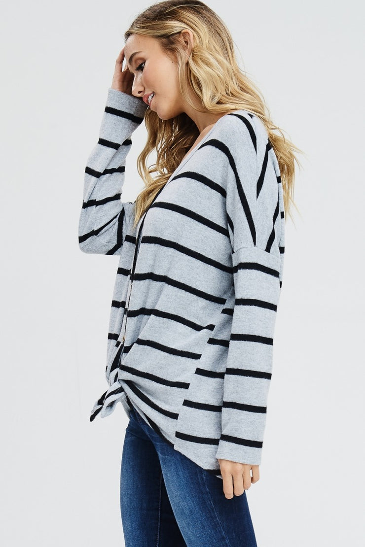 Button Stripe Sweater