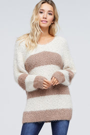 Beige Ivory Striped Sweater