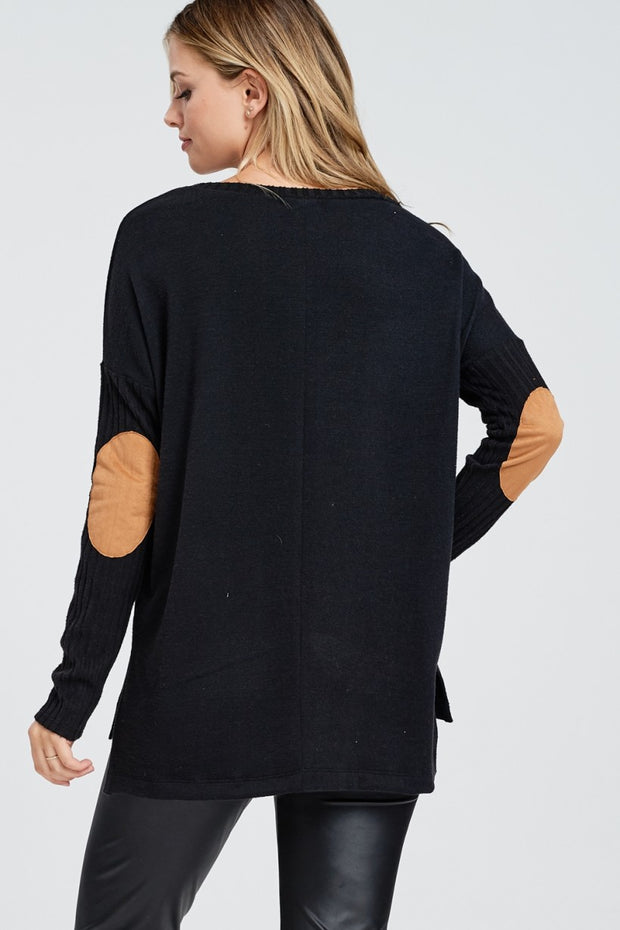 Long Sleeve Elbow Patch Sweater