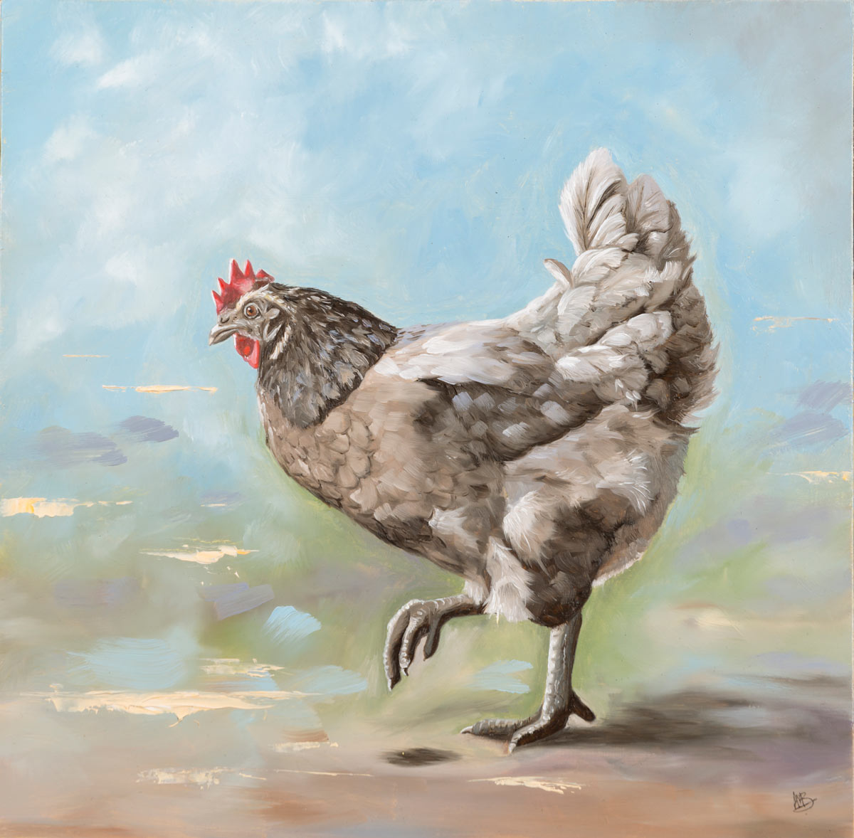 Bluebelle - original oil painting of a chicken