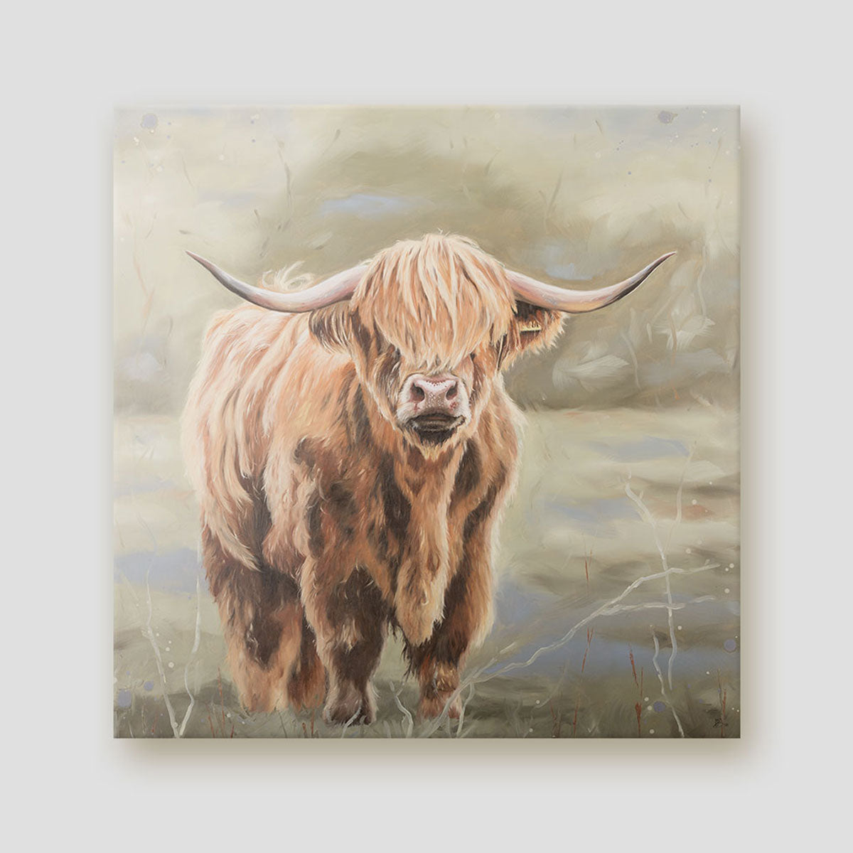 Bonnie Highland cow canvas