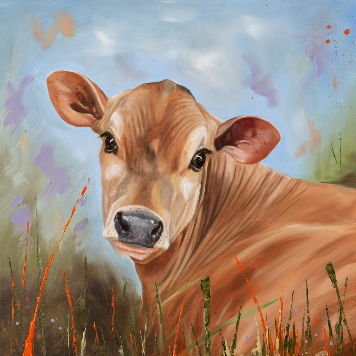 Bright Eyes - Jersey Cow Oil Painting