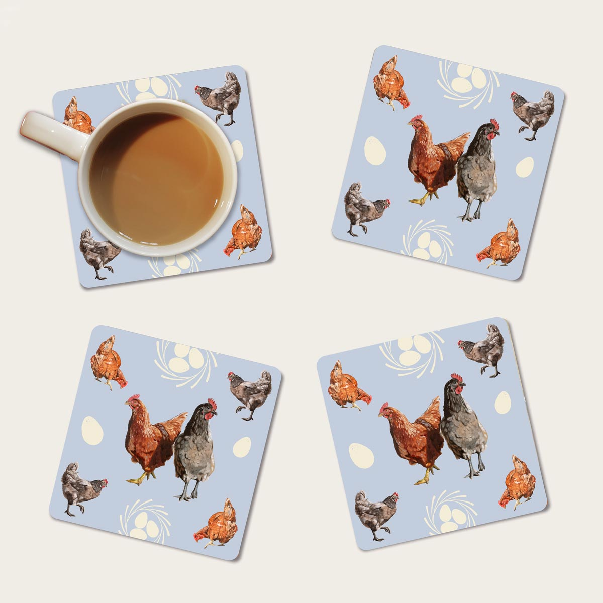 Chicken and egg coaster