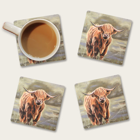 Bonnie - Highland cow coaster