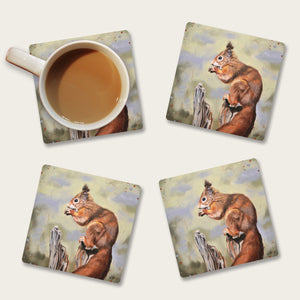 Red squirrel coaster set
