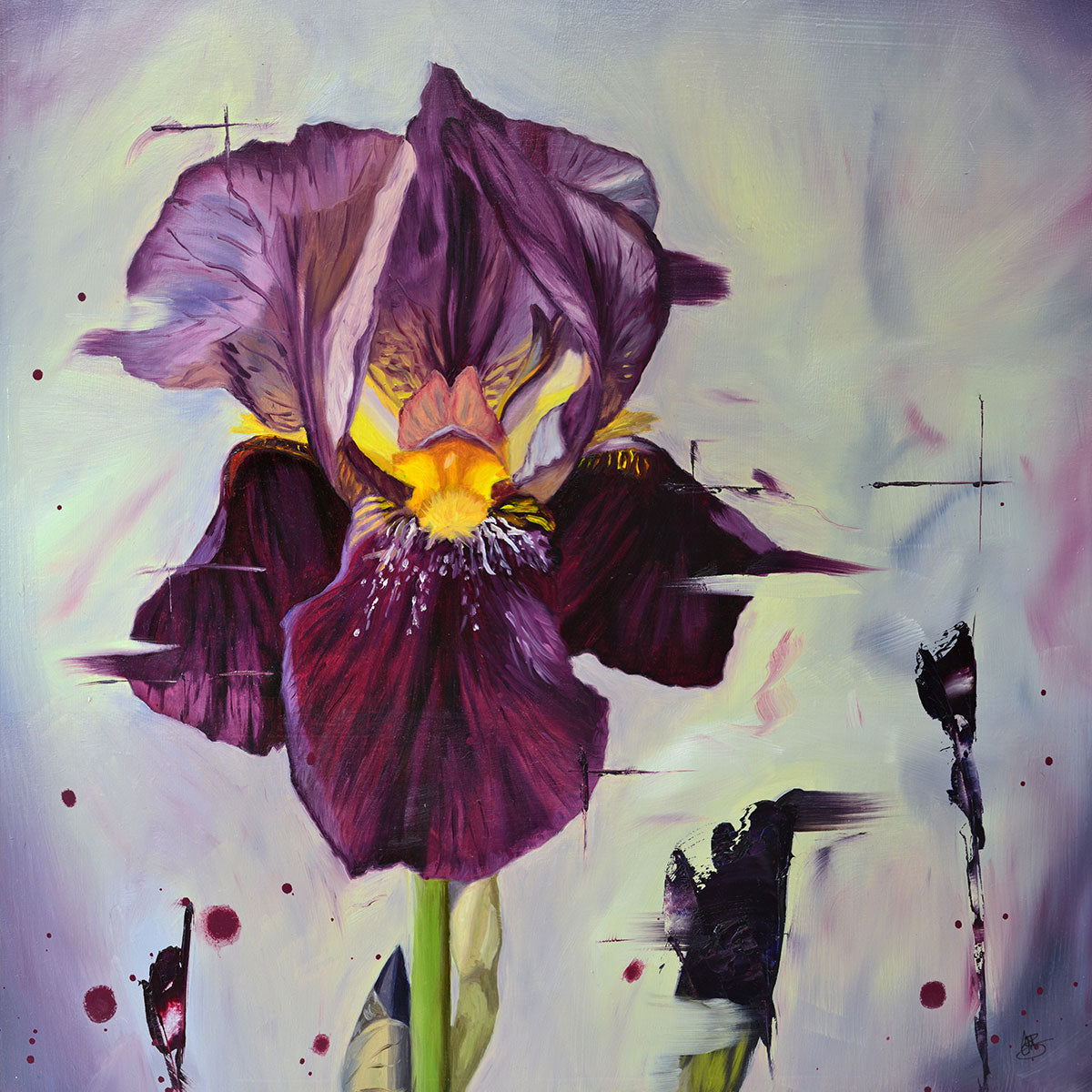 Dark Magic - original oil painting of an iris