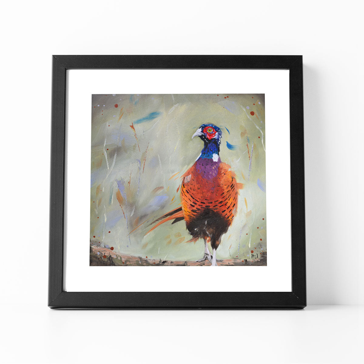 Dashing pheasant framed print