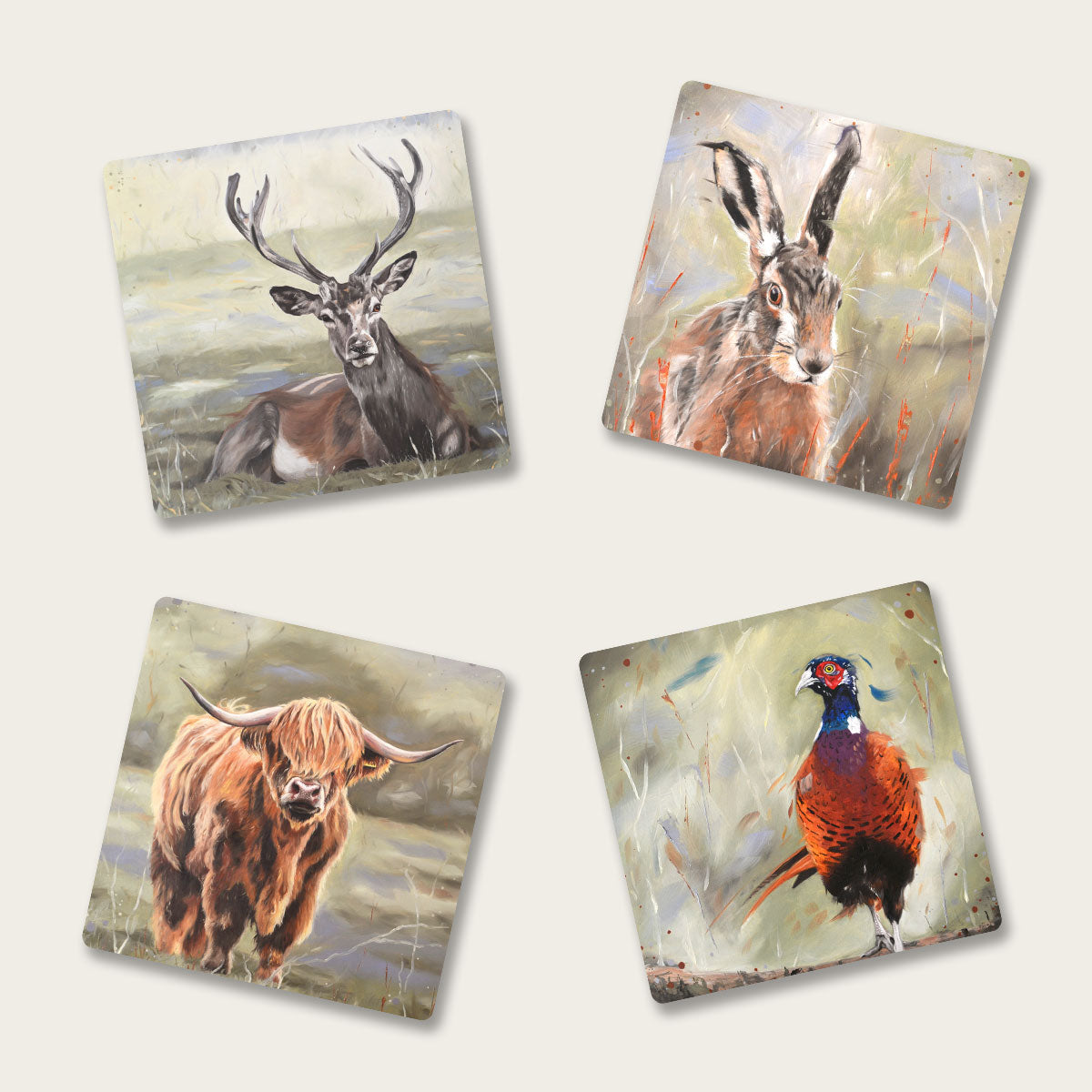 Set of four coasters - mixed set