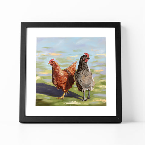 Girls Day Out chicken print in black frame