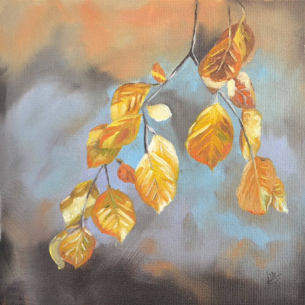 Golden leaves oil study