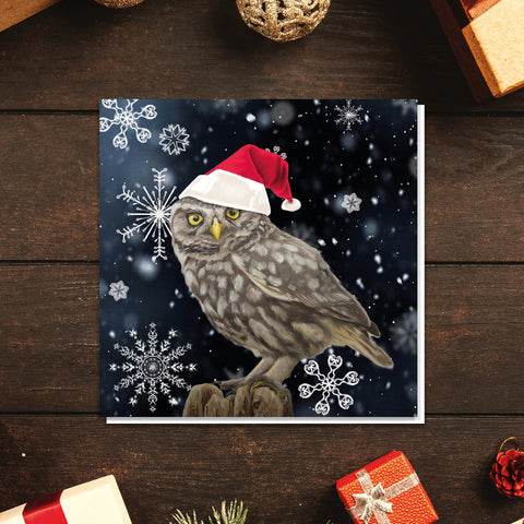 'Grumpy owl at Christmas' card
