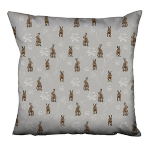 Hare print cushion - Hares in the meadow