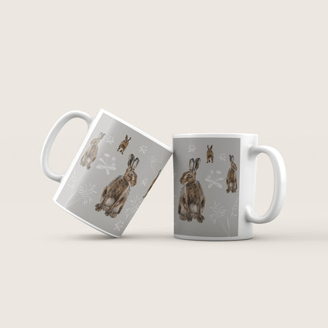 Hare mug - Hares in the meadow design