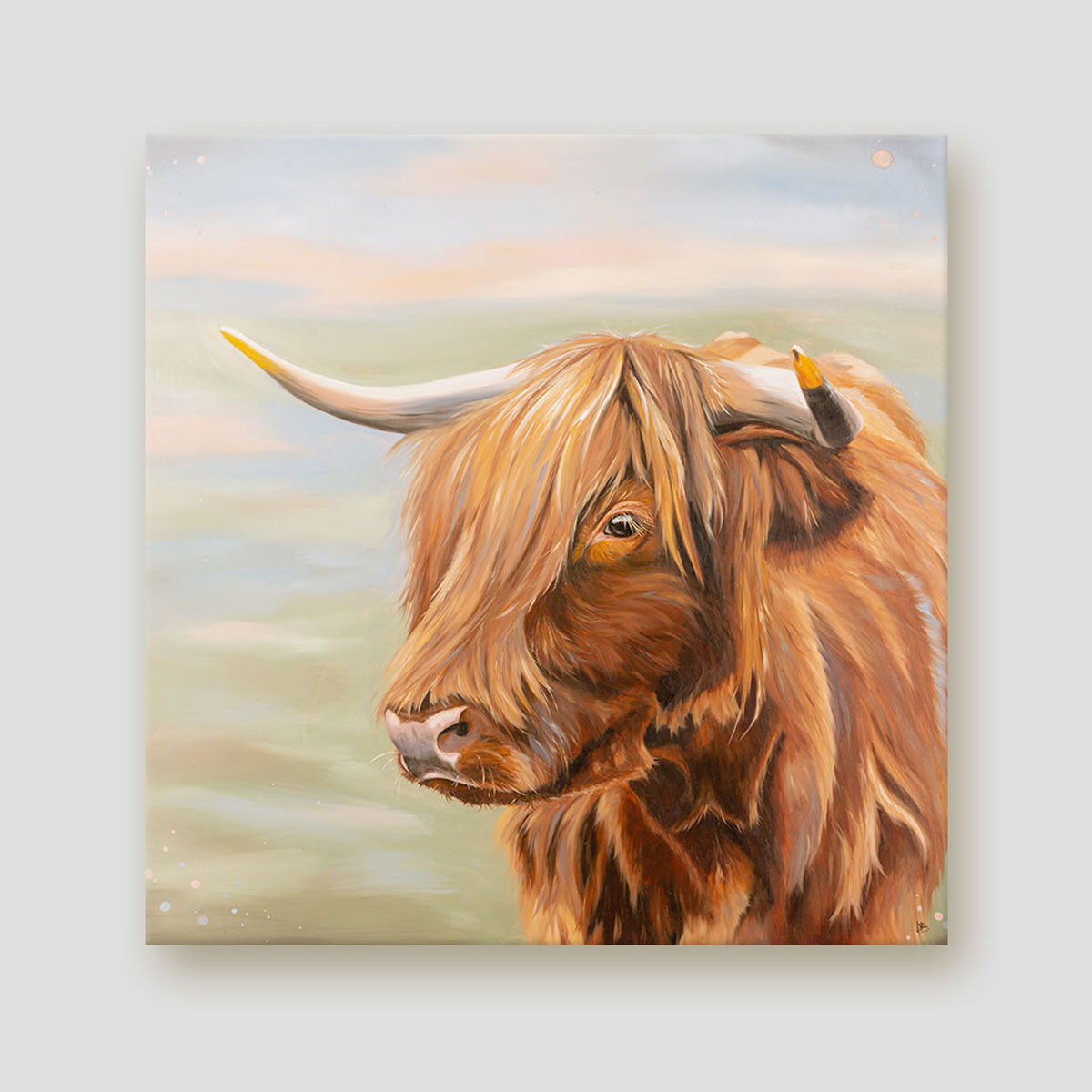 Heather Highland cow canvas art