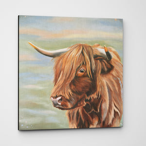 Heather Highland cow canvas
