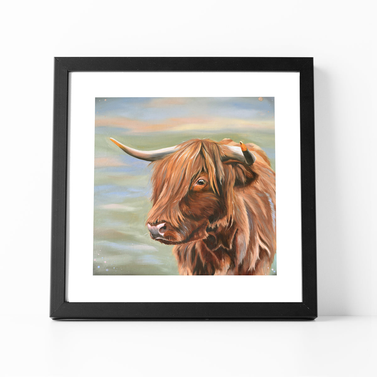 Heather Highland cow framed print