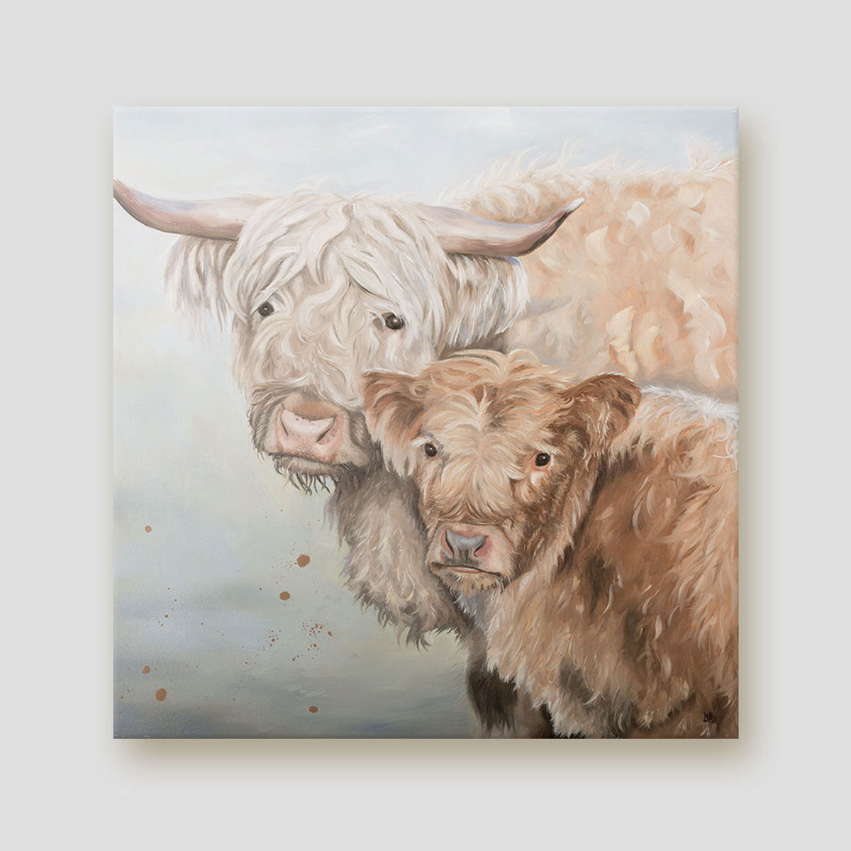 Lumi and Floss Highland cow Canvas Print