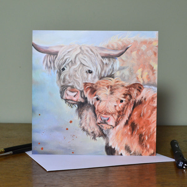 Lumi and Floss Highland cow card