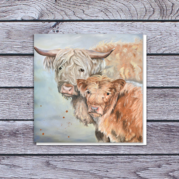 Highland cow mother and calf card