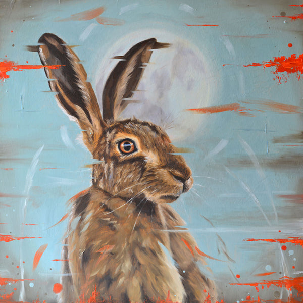 Moonstruck - colourful hare card
