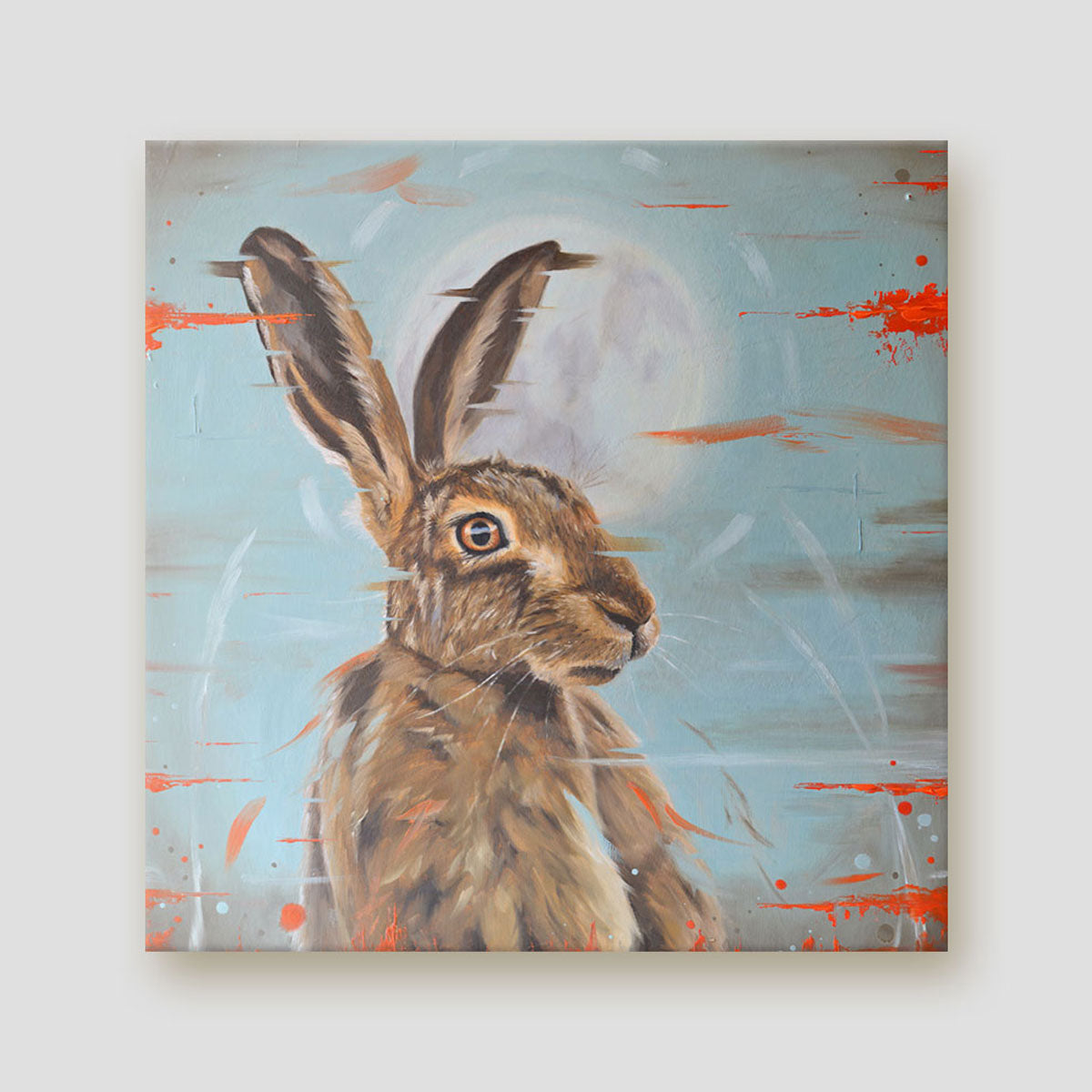 Moonstruck hare canvas print